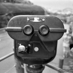 Black and white Touristscope portrait of a coin-operated binocular in tha zoo of Sydney, Australia.