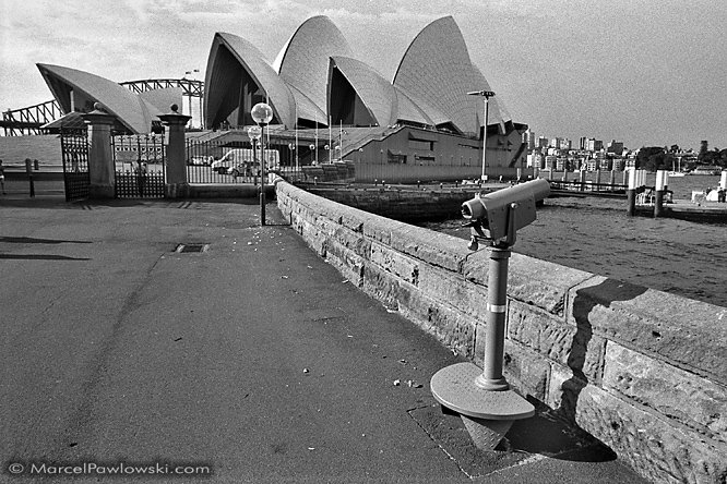 Touristscope at the Opera House in the Harbour of Sydney, Australia