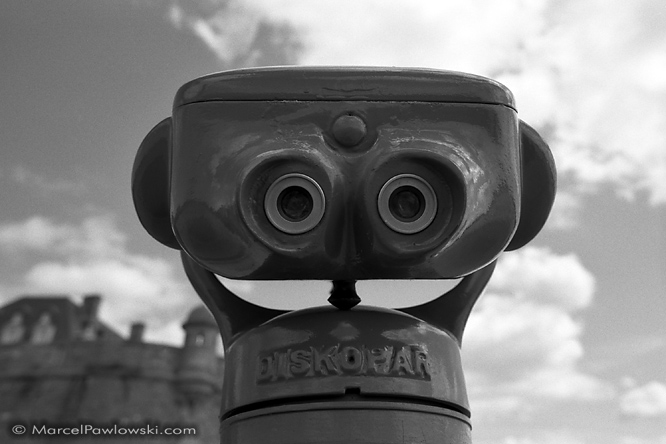 Black and white portrait of a Touristscope at Saint Malo in Brittany, France