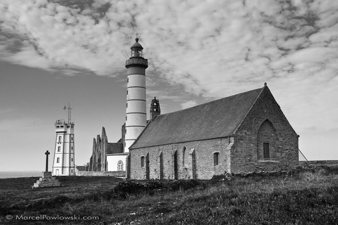 Ensemble of lighthouse, church, ruin of an abbey and navy post at Saint-Mathieu, Brittany, France, 2010