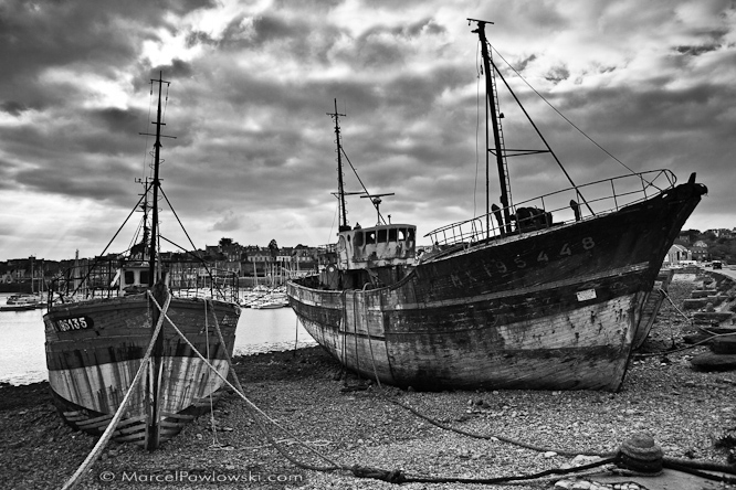 Ship graveyard in the harbor of Camaret-sur-Mer, Brittany, France, 2010
