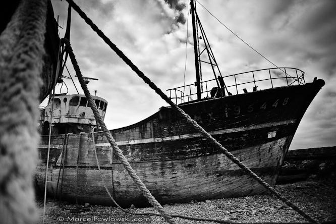 Ship graveyard in the harbor of Camaret-sur-Mer, Brittany, France, 2010