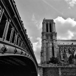 The Pont au Double leading onto the Ile de la Cite, next to the Notre Dame Cathedral in Paris.