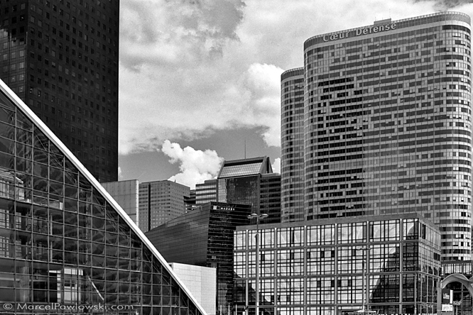Collection of skyscrapers standing together in La Defance, Paris.