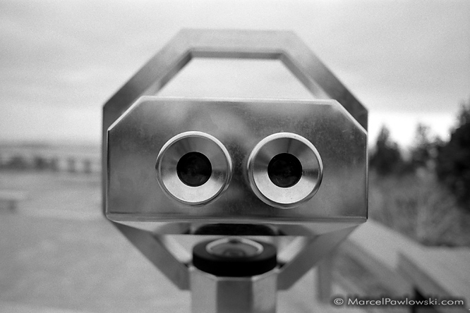 Touristscope at a lookout point above the harbor of Le Havre in Normandy, France