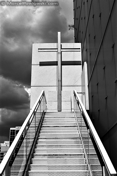 A cross of steel belonging to a church in La Defence, Paris