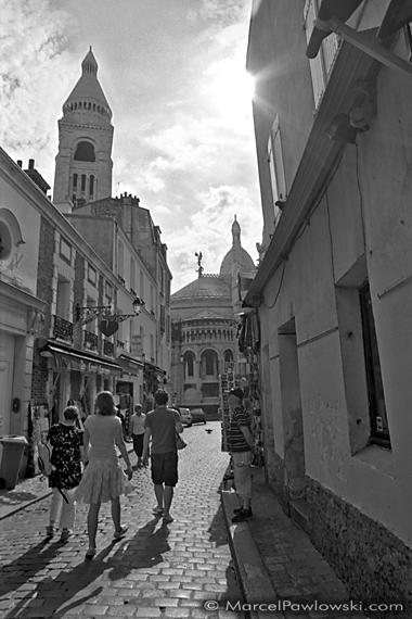 Street leading to Sacre Coeur in Montmartre